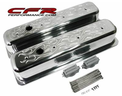 CFR - 1987-97 Chevy 5.0L & 5.7L Tall Flamed Aluminum Finned Center-Bolt Valve Covers