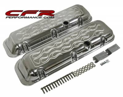 CFR - 1965-95 Chevy Big Block 396-427-454-502 Short Aluminum Flamed Billet Valve Covers