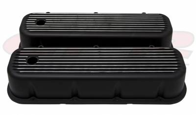 Engine Dress Up - Valve Covers - CFR - 1965-95 Chevy Big Block 396-427-454-502 Tall Aluminum Black Billet Valve Covers