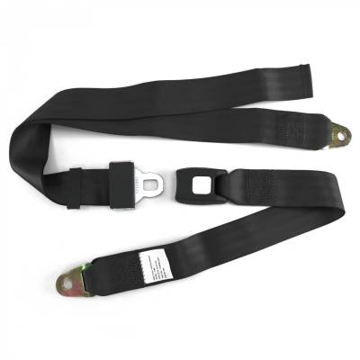 SafeTboy - 2 Point Black Lap Seat Belt, Standard Buckle, Pair