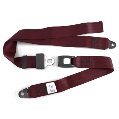 SafeTboy - 2 Point Burgundy Lap Seat Belt, Standard Buckle, Pair