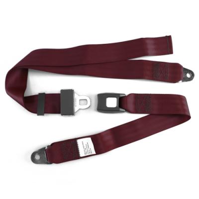 Interior Accessories - SafeTboy - 2 Point Burgundy Lap Seat Belt, Standard Buckle, Pair