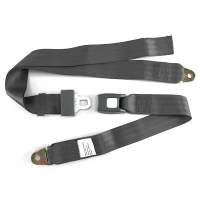 SafeTboy - 2 Point Charcoal Gray Lap Seat Belt, Standard Buckle, Pair