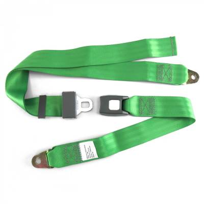 SafeTboy - 2 Point Green Lap Seat Belt, Standard Buckle, Pair