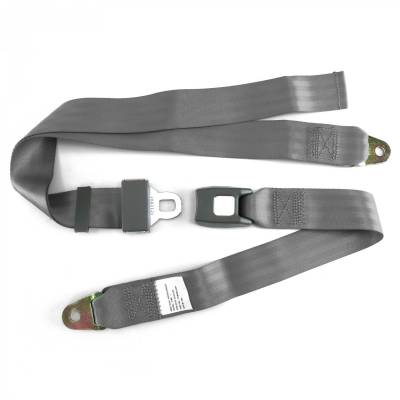 SafeTboy - 2 Point Gray Lap Seat Belt, Standard Buckle, Pair