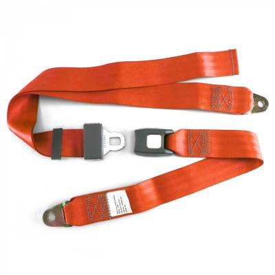 SafeTboy - 2 Point Orange Lap Seat Belt, Standard Buckle, Pair