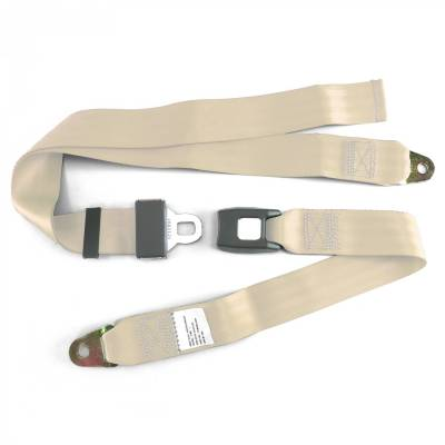 SafeTboy - 2 Point Offwhite Lap Seat Belt, Standard Buckle, Pair