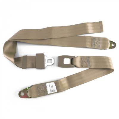 SafeTboy - 2 Point Tan Lap Seat Belt, Standard Buckle, Pair