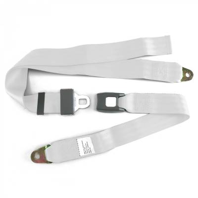 SafeTboy - 2 Point White Lap Seat Belt, Standard Buckle, Pair