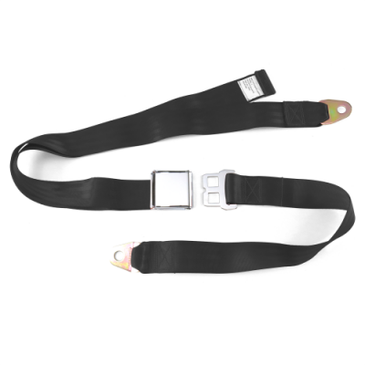 Interior Accessories - Seat Belts - SafeTboy - 2 Point Black Lap Seat Belt, Airplane Buckle, Pair