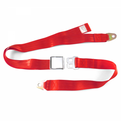 Interior Accessories - Seat Belts - SafeTboy - 2 Point Red Lap Seat Belt, Airplane Buckle, Pair