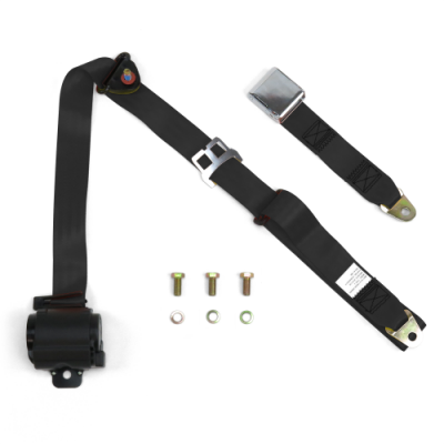 Interior Accessories - Seat Belts - SafeTboy - 3 Point Retractable Black Lap Seat Belt, Airplane Buckle, Pair