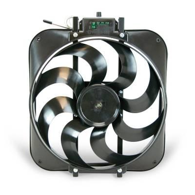 Flex-a-Lite - Flex-a-Lite 15-inch Black Magic S-Blade reversible electric fan with adjustable thermostat controller - 3000 CFM