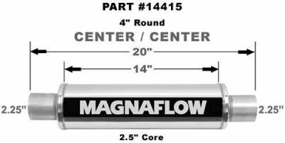 "Exhaust - MagnaFlow - Magnaflow Universal Polished Stainless Steel Muffler - 4"" Round - Various Tubing Sizes"