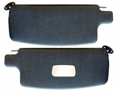 Headliners, Visors & Sailpanels - Bug, Beetle - 1965-1978 VW Volkswagen Bug Beetle Black Sunvisors w/mirror, Pair, Sedan, Convertible