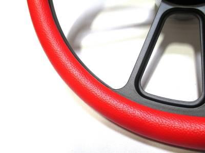 """Forever Sharp Steering Wheels - 14"""" Black Billet Muscle w/ Red Half-Wrap Volkswagen Full Boss Kit - Image 2"""