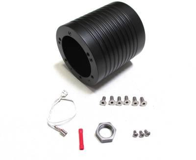 "Forever Sharp Steering Wheels - 14"" Black Muscle w/ Real Mahogany Wood Half-Wrap & Rivets VW Full Kit - Image 3"