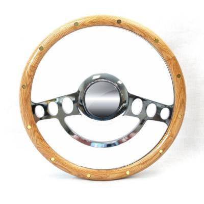 "Forever Sharp Steering Wheels - 14"" Chrome Hot Rod Steering Wheel w/Real Oak Half-Wrap"