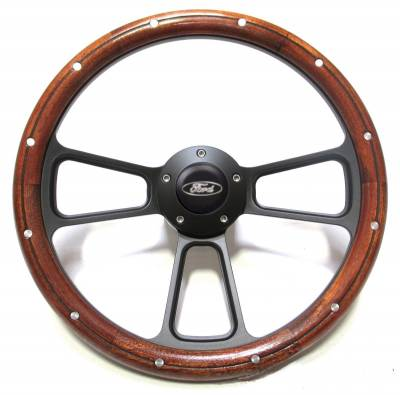"14"" Wood Steering Wheels - Wood Steering Wheel Kits - Forever Sharp Steering Wheels - 14"" Billet and Real Mahogany Ford Steering Wheel Kit Includes Adapter, Ford Horn Button"