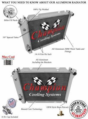 Champion Cooling Systems - 1967-1968 Ford T Bird, Galaxie, More Champion 2 Row Core All Aluminum Radiator EC385 - Image 3