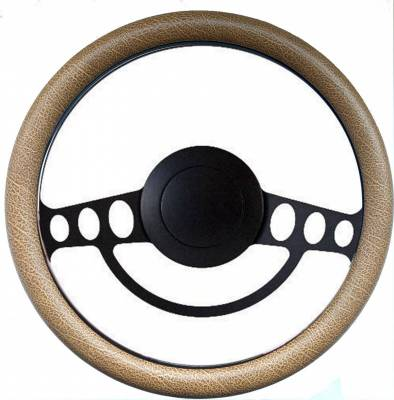 """Interior Accessories - Forever Sharp Steering Wheels - 14"""" Black Hot Rod Steering Wheel Kit w/Your Choice of Half-Wrap"""