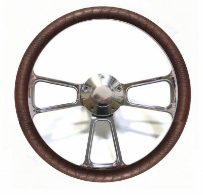 "Forever Sharp Steering Wheels - 14"" Polished Billet Muscle Style Steering Wheel w/Your Choice of Half-Wrap"