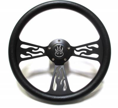 "Forever Sharp Steering Wheels - 14"" Black Billet Flamed Steering Wheel w/Your Choice of Horn and Half-Wrap"