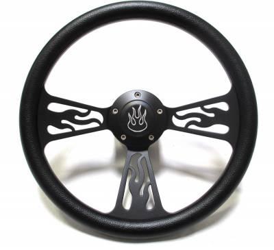 """14"""" Vinyl Half Wrap Steering Wheels - Vinyl Half Wrap Wheels - Forever Sharp Steering Wheels - 14"""" Black Billet Flamed Steering Wheel w/Your Choice of Horn and Half-Wrap"""
