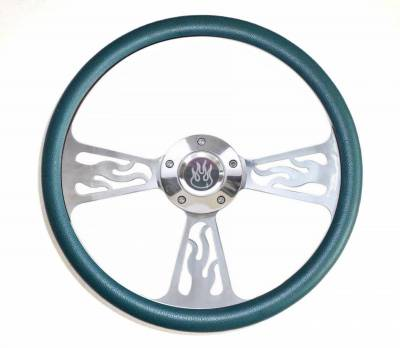 "Forever Sharp Steering Wheels - 14"" Polished Billet Flamed Steering Wheel w/Your Choice of Horn and Half-Wrap"