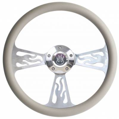 "14"" Vinyl Half Wrap Steering Wheels - Vinyl Half Wrap Wheels - Forever Sharp Steering Wheels - 14"" Polished Billet Flamed Steering Wheel w/Your Choice of Horn and Half-Wrap"