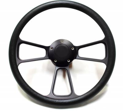 "Forever Sharp Steering Wheels - 14"" Black Billet Muscle Style Steering Wheel Kit w/Your Choice of Horn and Half-Wrap"