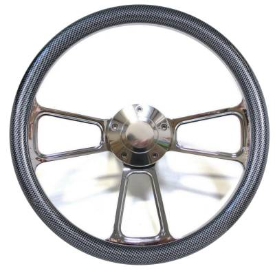 "14"" Vinyl Half Wrap Steering Wheels - Vinyl Steering Wheel Kits - Forever Sharp Steering Wheels - 14"" Polished Billet Muscle Style Steering Wheel Kit w/Your Choice of Half-Wrap"