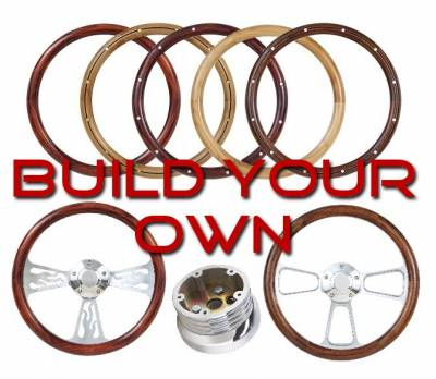 "14"" Wood Steering Wheels - Wood Steering Wheel Kits - Forever Sharp Steering Wheels - Design Your Own Polished Wheel Kit"