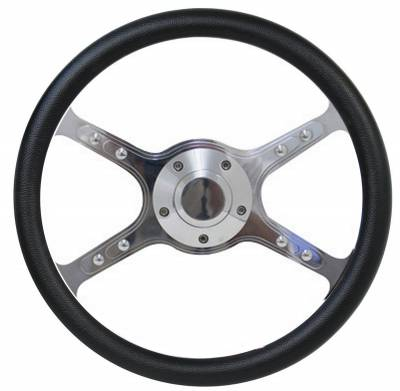 "14"" Vinyl Half Wrap Steering Wheels - Vinyl Steering Wheel Kits - Forever Sharp Steering Wheels - 14"" Lakester Style Billet Aluminum Steering Wheel Kit w/Your Choice of Horn and Half Wrap"