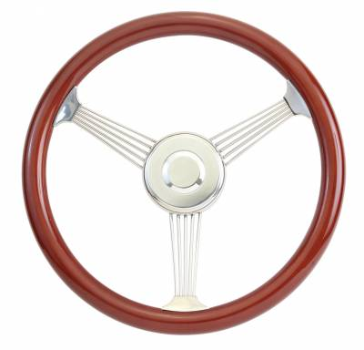 "14"" Wood Steering Wheels - Wood Steering Wheel Kits - Forever Sharp Steering Wheels - 15"" Mahogany Banjo Wood Steering Wheel Full Kit"