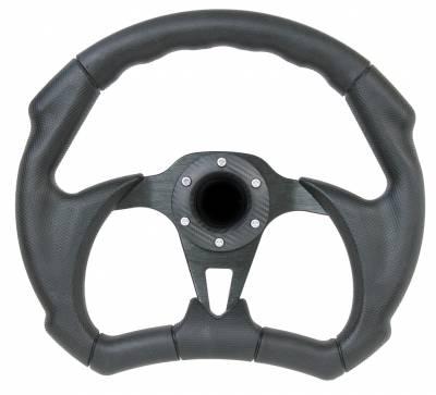 """Steering Wheels - Performance Series Wheels - Forever Sharp Steering Wheels - 12"""" Black Out II D-Shape Performance Steering Wheel"""