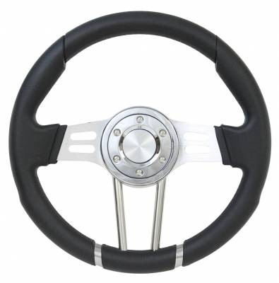 "Forever Sharp Steering Wheels - 14"" Dual Spoke All Black Performance Steering Wheel"