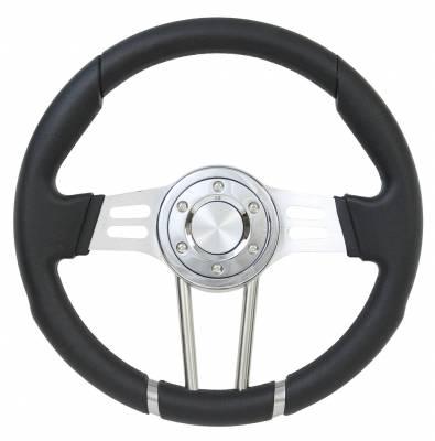 """Steering Wheels - Performance Series Wheels - Forever Sharp Steering Wheels - 14"""" Dual Spoke All Black Performance Steering Wheel"""