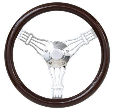 "14"" Wood Steering Wheels - Wood Steering Wheel Kits - Forever Sharp Steering Wheels - 14"" Discord Dark Wood Banjo Wheel Kit"