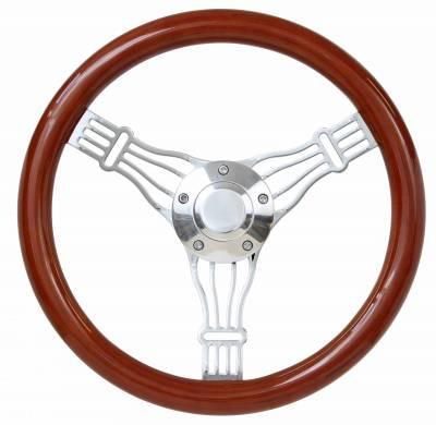 """14"""" Wood Steering Wheels - Wood Steering Wheel Kits - Forever Sharp Steering Wheels - 14"""" Discord Light Wood Banjo Wheel Kit"""