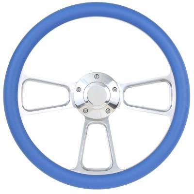 "Forever Sharp Steering Wheels - 14"" Polished Billet Muscle Style Steering Wheel w/ any Half Wrap"