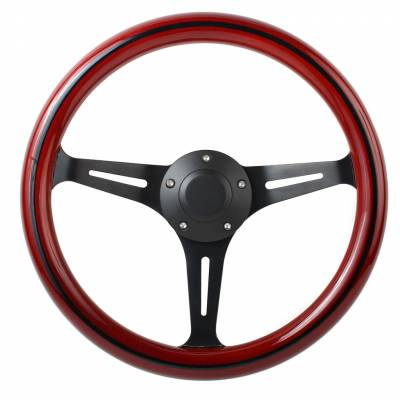 "14"" Wood Steering Wheels - Wood Steering Wheel Kits - Forever Sharp Steering Wheels - Black Split Spoke 14"" Custom Steering wheel"