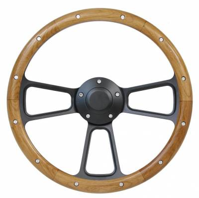 "14"" Wood Steering Wheels - Wood Steering Wheels - Forever Sharp Steering Wheels - 14"" Black Billet and Alderwood Steering Wheel"