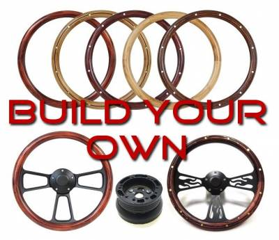 "14"" Wood Steering Wheels - Wood Steering Wheel Kits - Forever Sharp Steering Wheels - Design Your Own Black Wheel Kit"