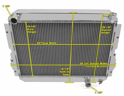"American Eagle - American Eagle Radiator AE1213 Aluminum 2 Row for 83-90 Landcruiser 1"" tubes - Image 2"