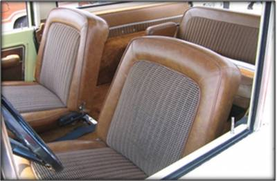 TMI Products - 1968-1977 Ford Bronco, Front Buckets Deluxe Houndstooth Seat Upholstery