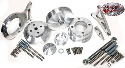 Engine - Pulleys & Brackets - RPC - Complete Serpentine Pulley & Bracket Set for Ford 351 Windsor Engines - Polished Billet Aluminum