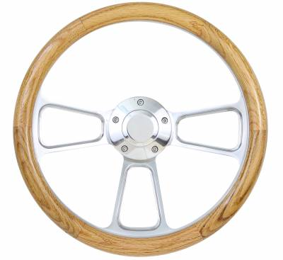 "14"" Wood Steering Wheels - Wood Steering Wheels - Forever Sharp Steering Wheels - 14"" Polished Billet w/Wood Half Wrap Steering Wheel"