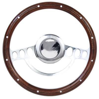 "Forever Sharp Steering Wheels - 14"" Chrome Hot Rod Steering Wheel w/Mahogany Half-Wrap - Image 1"