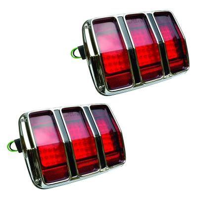 Lighting - Tail Lights, Back Up Lights, Marker Lights - Dynacorn - 1965 -1966 Mustang LED Tail Lights with Bezel - Pair